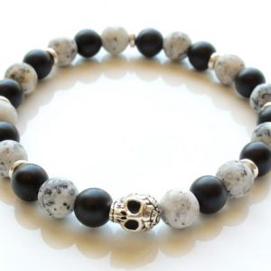 Shop Obsidian Bracelets! Natural Stone Stretch Bracelet, Silver Skull, Authentic Gemstones, Black Obsidian, Marble, Stackable, Yoga, Meditation, Unisex, For Men, 4771 | Natural genuine Obsidian bracelets. Buy handcrafted artisan men's jewelry, gifts for men.  Unique handmade mens fashion accessories. #jewelry #beadedbracelets #beadedjewelry #shopping #gift #handmadejewelry #bracelets #affiliate #ad