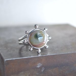 Shop Ocean Jasper Rings! Ocean Jasper Ring, Ocean Jasper, Size 6, Sterling Silver, Jasper Ring, Rudder Ring, Nautical, Summer Jewelry, Gemstone Ring, Split Ring, | Natural genuine Ocean Jasper rings, simple unique handcrafted gemstone rings. #rings #jewelry #shopping #gift #handmade #fashion #style #affiliate #ad