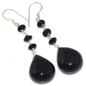 Shop Onyx Earrings! Special Sale, Simply Black, Elegant and Very Beautiful Black Onyx Earrings, 925 Silver | Natural genuine Onyx earrings. Buy crystal jewelry, handmade handcrafted artisan jewelry for women.  Unique handmade gift ideas. #jewelry #beadedearrings #beadedjewelry #gift #shopping #handmadejewelry #fashion #style #product #earrings #affiliate #ad