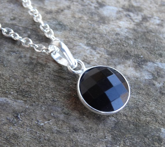 """Sterling Silver Natural Black Onyx Pendant Necklace - 18"""" Sterling Silver Chain - Gemstone Necklace Pendant - Natural Stone Dainty Necklace"""