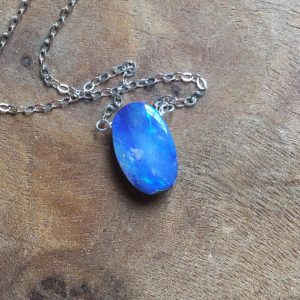 Blue Opal Pendant Necklace On Sterling Silver Chain – October Birthstone Necklace – Opal Necklace – Opal Jewelry | Natural genuine Opal pendants. Buy crystal jewelry, handmade handcrafted artisan jewelry for women.  Unique handmade gift ideas. #jewelry #beadedpendants #beadedjewelry #gift #shopping #handmadejewelry #fashion #style #product #pendants #affiliate #ad