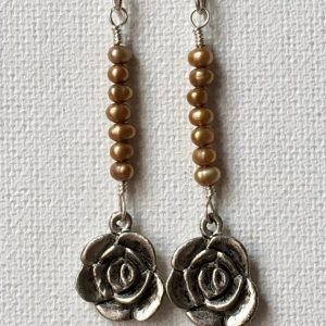 Shop Pearl Earrings! Gold Pearl Earrings, Silver Rose Charm Dangle Earrings, Boho Earrings, Charm Earrings, Pearl Earrings, Rose Charms, OOAK Earrings | Natural genuine Pearl earrings. Buy crystal jewelry, handmade handcrafted artisan jewelry for women.  Unique handmade gift ideas. #jewelry #beadedearrings #beadedjewelry #gift #shopping #handmadejewelry #fashion #style #product #earrings #affiliate #ad