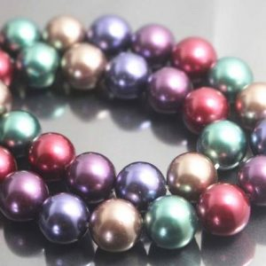Shop Pearl Beads! 12mm Mixcolor South Sea Shell Pearl Beads,Smooth and Round Beads,Chrismas Beads,15 inches one starand | Natural genuine beads Pearl beads for beading and jewelry making.  #jewelry #beads #beadedjewelry #diyjewelry #jewelrymaking #beadstore #beading #affiliate #ad