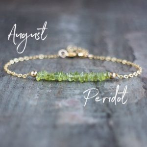 Raw Peridot Bracelet, Rough Peridot Jewelry, August Birthstone Bracelet, Raw Stone Bracelet, Peridot Crystal Jewelry Gifts for Women |  #affiliate