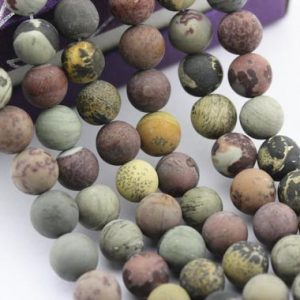 "Shop Picture Jasper Beads! Chohua Coffee Bean Jasper Matte Round Beads 4mm 6mm 8mm 10mm 15.5"" Strand 
