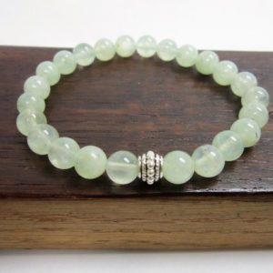 Shop Prehnite Bracelets! Prehnite Bracelet Prehnite Charm Bracelet Prehnite Third Eye Chakra Bracelet Libra Prehnite Meditation Bracelet Prehnite Healing Bracelet | Natural genuine Prehnite bracelets. Buy crystal jewelry, handmade handcrafted artisan jewelry for women.  Unique handmade gift ideas. #jewelry #beadedbracelets #beadedjewelry #gift #shopping #handmadejewelry #fashion #style #product #bracelets #affiliate #ad