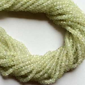 Shop Prehnite Faceted Beads! 3.5-4mm Prehnite Micro Faceted Rondelle Beads, Green Prehnite Faceted Beads For Necklace, 13IN Prehnite Beads (1ST To 5ST Options) – GOD290 | Natural genuine faceted Prehnite beads for beading and jewelry making.  #jewelry #beads #beadedjewelry #diyjewelry #jewelrymaking #beadstore #beading #affiliate #ad