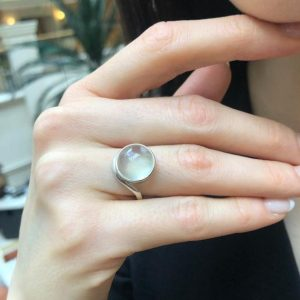 Shop Prehnite Rings! Prehnite Ring, Natural Prehnite, Round Ring, May Birthstone, Light Green Ring, Round Stone Ring, Statement Ring, May Ring, Solid Silver Ring | Natural genuine Prehnite rings, simple unique handcrafted gemstone rings. #rings #jewelry #shopping #gift #handmade #fashion #style #affiliate #ad