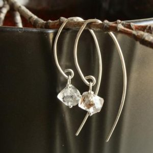 Shop Herkimer Diamond Earrings! Herkimer Diamond Sterling Silver Earrings Genuine Crystal Clear Quartz Gemstone Marquise Threaders April birthstone gift for her 4634 | Natural genuine Herkimer Diamond earrings. Buy crystal jewelry, handmade handcrafted artisan jewelry for women.  Unique handmade gift ideas. #jewelry #beadedearrings #beadedjewelry #gift #shopping #handmadejewelry #fashion #style #product #earrings #affiliate #ad