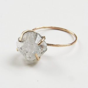 Herkimer Diamond Gold Ring, Raw Crystal Ring | Natural genuine Herkimer Diamond jewelry. Buy crystal jewelry, handmade handcrafted artisan jewelry for women.  Unique handmade gift ideas. #jewelry #beadedjewelry #beadedjewelry #gift #shopping #handmadejewelry #fashion #style #product #jewelry #affiliate #ad
