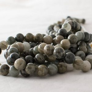 "Shop Quartz Crystal Round Beads! High Quality Grade A Natural Green Line Quartz Semi-precious Gemstone Round Beads – 4mm, 6mm, 8mm, 10mm sizes – Approx 15.5"" strand 