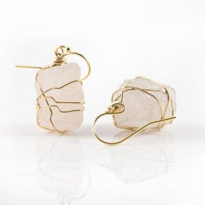 Wire Wrapped Natural Rough Rose Quartz Earrings – Mother's Day Gift – Large Pink Semi-Transparent Quartz – Birthstone Gift | Natural genuine Gemstone earrings. Buy crystal jewelry, handmade handcrafted artisan jewelry for women.  Unique handmade gift ideas. #jewelry #beadedearrings #beadedjewelry #gift #shopping #handmadejewelry #fashion #style #product #earrings #affiliate #ad