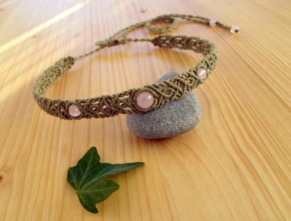 Macrame Choker, Rose Quartz Necklace, Macrame Jewelry, Rose Quartz Choker, Macrame Necklace, Gemstone Choker, Macrame Headband