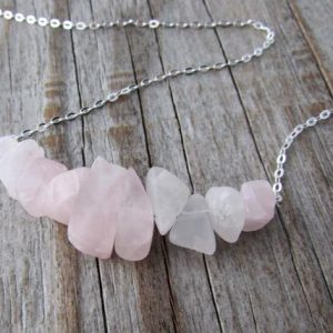 Shop Rose Quartz Necklaces! Rose Quartz Necklace, Raw Tumbled Rose Quartz, Pale Pink, Bar Necklace, Swing Necklace | Natural genuine Rose Quartz necklaces. Buy crystal jewelry, handmade handcrafted artisan jewelry for women.  Unique handmade gift ideas. #jewelry #beadednecklaces #beadedjewelry #gift #shopping #handmadejewelry #fashion #style #product #necklaces #affiliate #ad