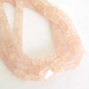 Shop Rose Quartz Bead Shapes! Rose Quartz Beads, 12mm, 14mm Rose Quartz Smooth Rectangles, Rose Quartz Rectangle Beads, Pink Gemstone Beads, Soft Pink, Rose209 | Natural genuine other-shape Rose Quartz beads for beading and jewelry making.  #jewelry #beads #beadedjewelry #diyjewelry #jewelrymaking #beadstore #beading #affiliate #ad