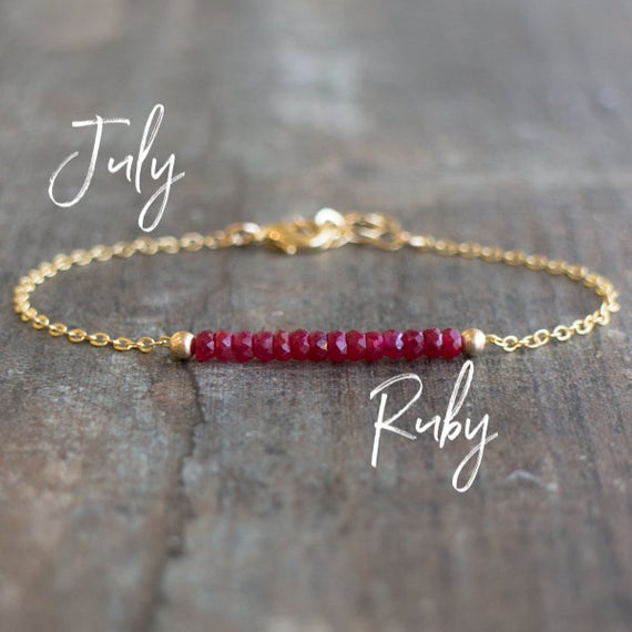 Ruby Bracelet, Bracelets For Women, Dainty Bracelet, Red Ruby Bracelet, Ruby Gold Bracelet, Ruby Bracelet Woman,  July Birthstone Bracelet