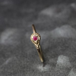 Shop Ruby Rings! Tiny Red Ruby 14k And 22k Yellow Gold India Inspired Snake Ring Ornate Beaded Detail Warm Colors Delicate July Birthstone Band – Lil Cobra | Natural genuine Ruby rings, simple unique handcrafted gemstone rings. #rings #jewelry #shopping #gift #handmade #fashion #style #affiliate #ad