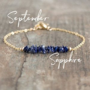 Raw Sapphire Bracelet, September Birthstone Jewelry, Gift For Women | Natural genuine Sapphire bracelets. Buy crystal jewelry, handmade handcrafted artisan jewelry for women.  Unique handmade gift ideas. #jewelry #beadedbracelets #beadedjewelry #gift #shopping #handmadejewelry #fashion #style #product #bracelets #affiliate #ad