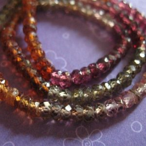 "Shop Sapphire Faceted Beads! Tundra Tunduru Sapphire Rondelles Beads – 3.5"" Inch In, 1 / 4 Strand, 3-3.5 Mm – Faceted, September Birthstone Berry Red Gold Tan Green Solo 