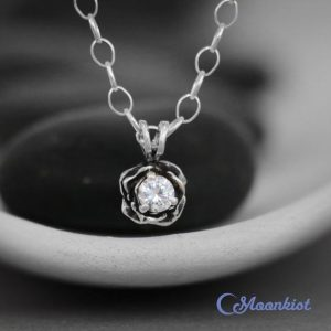 Shop Sapphire Pendants! White Sapphire Rose Layering Necklace – Sterling Silver Rose Pendant – Dainty Gemstone Necklace – Wedding Floral Necklace – Bridesmaid Gift | Natural genuine Sapphire pendants. Buy handcrafted artisan wedding jewelry.  Unique handmade bridal jewelry gift ideas. #jewelry #beadedpendants #gift #crystaljewelry #shopping #handmadejewelry #wedding #bridal #pendants #affiliate #ad