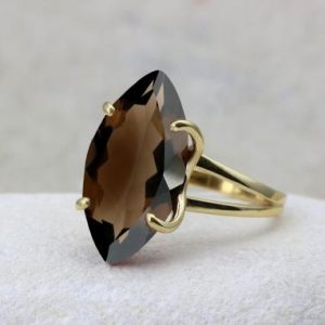 Smoky Quartz Ring, long Ring, gold Ring, marquise Ring, gemstone Ring, double Band Ring, cocktail Ring | Natural genuine Smoky Quartz rings, simple unique handcrafted gemstone rings. #rings #jewelry #shopping #gift #handmade #fashion #style #affiliate #ad