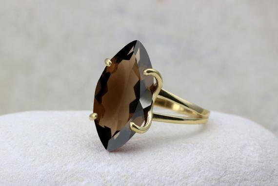 Smoky Quartz Ring, Long Ring, Gold Ring, Marquise Ring, Gemstone Ring, Double Band Ring, Cocktail Ring