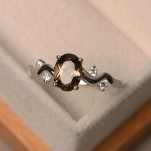 Shop Smoky Quartz Rings! Smoky quartz ring, sterling silver ring, oval shape brown gemstone ring | Natural genuine Smoky Quartz rings, simple unique handcrafted gemstone rings. #rings #jewelry #shopping #gift #handmade #fashion #style #affiliate #ad