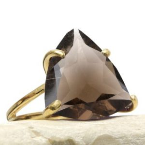 Triangle Ring, gold Ring, smokey Quartz Ring, trillion Ring, gold Prong Ring, gold Stackable Rings, double Band Rings, cocktail Rings | Natural genuine Smoky Quartz rings, simple unique handcrafted gemstone rings. #rings #jewelry #shopping #gift #handmade #fashion #style #affiliate #ad