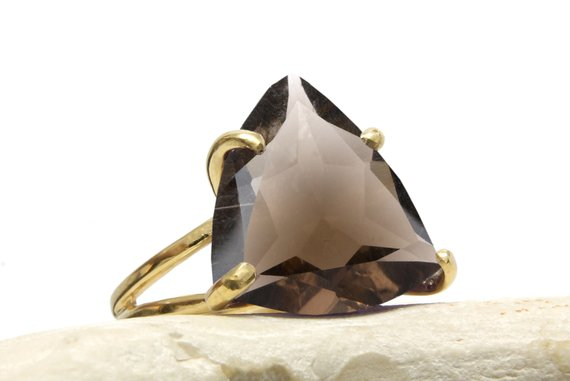 Triangle Ring, Gold Ring, Smokey Quartz Ring, Trillion Ring, Gold Prong Ring, Gold Stackable Rings, Double Band Rings, Cocktail Rings