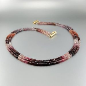 Shop Spinel Jewelry! Multi string red Spinel necklace with 14K gold plated clasp – shades of love – gift idea – elegant design – multi color genuine gemstone | Natural genuine Spinel jewelry. Buy crystal jewelry, handmade handcrafted artisan jewelry for women.  Unique handmade gift ideas. #jewelry #beadedjewelry #beadedjewelry #gift #shopping #handmadejewelry #fashion #style #product #jewelry #affiliate #ad
