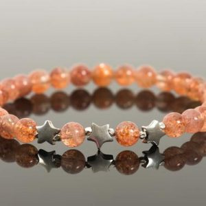 Shop Sunstone Bracelets! Sunstone Natural Gemstone Stretch Bracelet, Three Star Wishes Bracelet, The Sun and Stars Bracelet | Natural genuine Sunstone bracelets. Buy crystal jewelry, handmade handcrafted artisan jewelry for women.  Unique handmade gift ideas. #jewelry #beadedbracelets #beadedjewelry #gift #shopping #handmadejewelry #fashion #style #product #bracelets #affiliate #ad