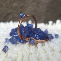 Raw Tanzanite Ring, Alternative Engagement Ring, Dainty Copper Ring, Tanzanite Elegant Ring, Stackable Ring | Natural genuine Gemstone jewelry. Buy handcrafted artisan wedding jewelry.  Unique handmade bridal jewelry gift ideas. #jewelry #beadedjewelry #gift #crystaljewelry #shopping #handmadejewelry #wedding #bridal #jewelry #affiliate #ad