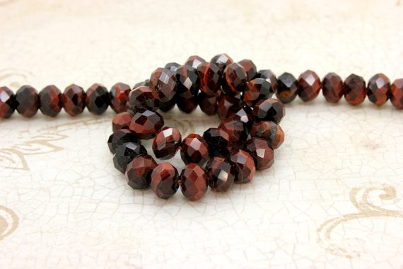 Natural Red Tiger Eye, Tiger's Eye Faceted Rondelle Loose Gemstone Stone Beads