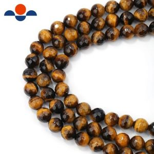 "Shop Tiger Eye Faceted Beads! Yellow Tiger Eye Faceted Round Beads 4mm 6mm 8mm 10mm 12mm 15.5"" Strand 