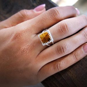 Shop Tiger Eye Rings! Tiger Eye Ring, square Tiger Ring, square Rings, silver Rings, gemstone Rings, stacking Rings, custom Rings, brown Ring | Natural genuine Tiger Eye rings, simple unique handcrafted gemstone rings. #rings #jewelry #shopping #gift #handmade #fashion #style #affiliate #ad