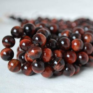 "Shop Tiger Eye Beads! High Quality Grade A Red Tiger Eye (treated) Semi-precious Gemstone Round Beads – 4mm, 6mm, 8mm, 10mm sizes – 15.5"" strand 