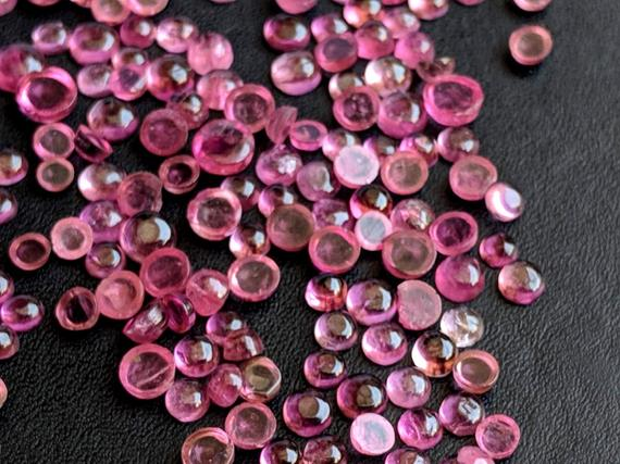 2-3mm Pink Tourmaline Plain Round Cabochons, Pink Tourmaline Flat Back Cabochons, Pink Loose Tourmaline For Jewelry (2cts To 5cts Options)
