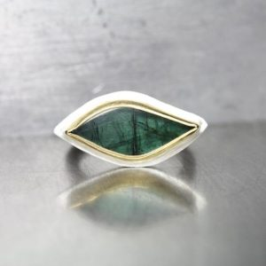 Shop Tourmaline Rings! Dark Green Tourmaline Protective Eye Ring Silver 22k Yellow Gold Modern Egyptian Inspired Statement Band Unique One Of A Kind Gem – Horus | Natural genuine Tourmaline rings, simple unique handcrafted gemstone rings. #rings #jewelry #shopping #gift #handmade #fashion #style #affiliate #ad