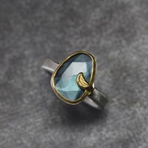 Shop Tourmaline Rings! Rose-Cut Indicolite Blue Tourmaline Slice Crescent Moon Ring Silver 22k Yellow Gold Teal Gemstone Gift Idea October Birthstone – Petrolmond | Natural genuine Tourmaline rings, simple unique handcrafted gemstone rings. #rings #jewelry #shopping #gift #handmade #fashion #style #affiliate #ad
