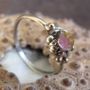 Shop Tourmaline Rings! Watermelon tourmaline silver plated electroformed ring, pink tourmaline ring, october birthstone ring | Natural genuine Tourmaline rings, simple unique handcrafted gemstone rings. #rings #jewelry #shopping #gift #handmade #fashion #style #affiliate #ad