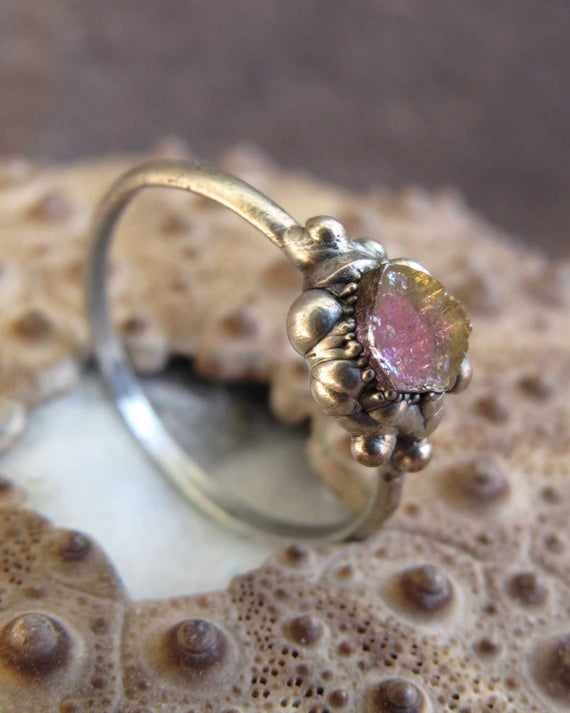 Watermelon Tourmaline Silver Plated Electroformed Ring, Pink Tourmaline Ring, October Birthstone Ring