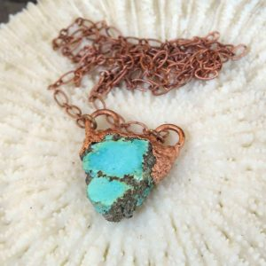 Shop Turquoise Pendants! Raw Turquoise Copper Electroformed Pendant, Rough Turquoise Necklace | Natural genuine Turquoise pendants. Buy crystal jewelry, handmade handcrafted artisan jewelry for women.  Unique handmade gift ideas. #jewelry #beadedpendants #beadedjewelry #gift #shopping #handmadejewelry #fashion #style #product #pendants #affiliate #ad