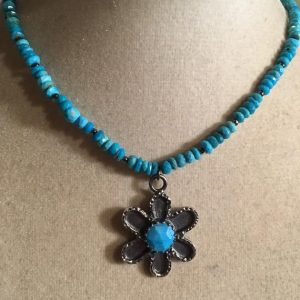 Shop Turquoise Pendants! Sleeping Beauty Turquoise Necklace – Sterling Silver Jewelry – Flower Pendant Jewellery – Beaded | Natural genuine Turquoise pendants. Buy crystal jewelry, handmade handcrafted artisan jewelry for women.  Unique handmade gift ideas. #jewelry #beadedpendants #beadedjewelry #gift #shopping #handmadejewelry #fashion #style #product #pendants #affiliate #ad