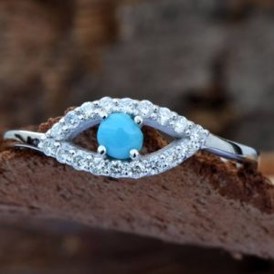 Shop Turquoise Rings! Turquoise Rings- Evil eye ring in 14k white gold | Natural genuine Turquoise rings, simple unique handcrafted gemstone rings. #rings #jewelry #shopping #gift #handmade #fashion #style #affiliate #ad