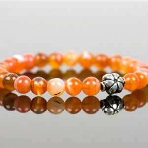 Shop Agate Bracelets! Orange Agate Bracelet, Sterling Silver Flower Bracelet, Gemstone Handmade Jewelry, gift for her | Natural genuine Agate bracelets. Buy crystal jewelry, handmade handcrafted artisan jewelry for women.  Unique handmade gift ideas. #jewelry #beadedbracelets #beadedjewelry #gift #shopping #handmadejewelry #fashion #style #product #bracelets #affiliate #ad