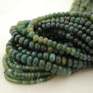 """Shop Moss Agate Beads! High Quality Grade A Natural Green Moss Agate Semi-precious Gemstone Faceted Rondelle Spacer Beads – 4mm, 6mm, 8mm Sizes – 15.5"""" Strand 
