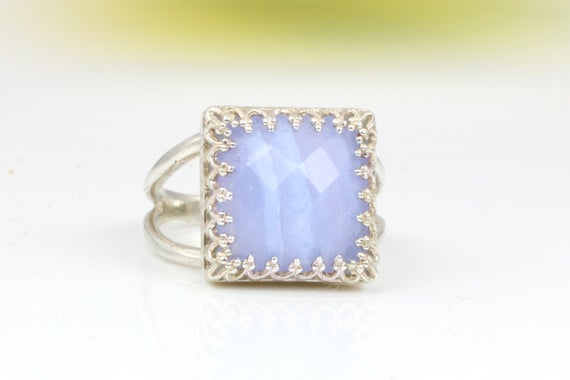 Lace Agate Ring,square Ring,silver Ring,gemstone Ring,blue Agate Ring,natural Stone Ring,mom Gift,mom Ring