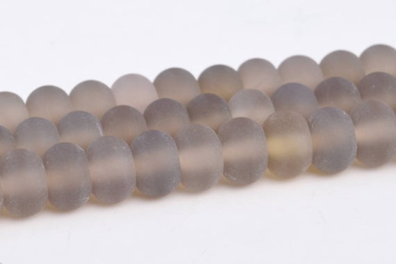 Matte Gray Agate Beads Grade Aaa Genuine Natural Gemstone Rondelle Loose Beads 6x4mm 8x5mm Bulk Lot Options