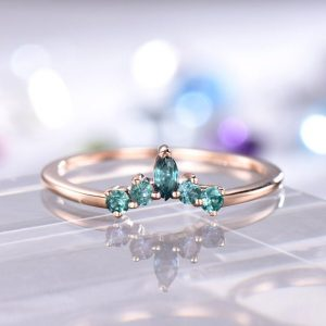Curved Wedding Band Alexandrite Ring Art Deco Color Changing June Birthstone Stacking Ring 14k Rose Gold 18k/Platinum Available | Natural genuine Gemstone rings, simple unique alternative gemstone engagement rings. #rings #jewelry #bridal #wedding #jewelryaccessories #engagementrings #weddingideas #affiliate #ad