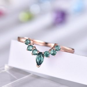 Shop Alexandrite Rings! Alexandrite Ring Curved Wedding Band 14k Rose Gold Stacking Matching Band For Women Anniversary Gift For Her 18k / platinum Available | Natural genuine Alexandrite rings, simple unique alternative gemstone engagement rings. #rings #jewelry #bridal #wedding #jewelryaccessories #engagementrings #weddingideas #affiliate #ad